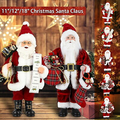"12""/18""/36"" Traditional Standing Father Christmas Santa Claus Figure Xmas Decors"