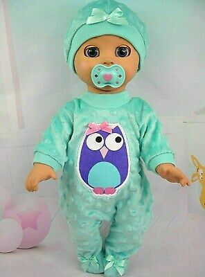 Dolls clothes for LUVABELLA DOLL~PURPLE OWL~MINT GREEN BOBBLE JUMPSUIT~ HAT