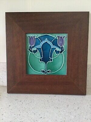 Antique framed Sherwin & Cotton art nouveau decorative tile tulip iris blue gree