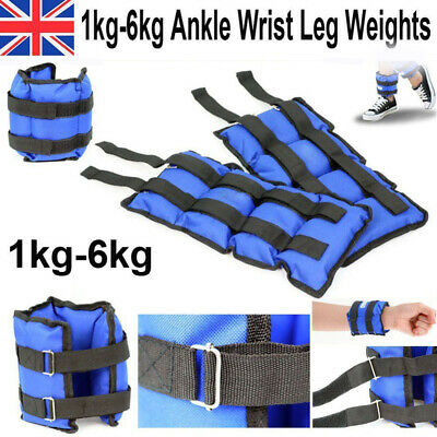 1-6KG Ankle Weights Leg Wrist Strap Sand Bag for Running Training Fitness Gym UK
