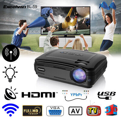 WiFi BT 4K 3D Full HD 1080P LED Android Projector Home Theater AV/TV/USB/HDMI 8G