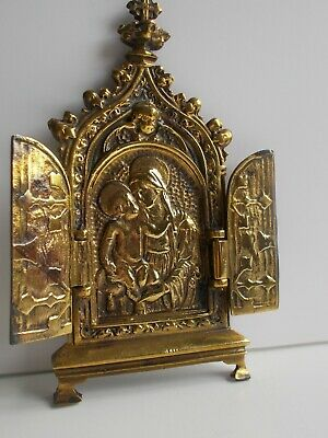 Antique solid bronze Neo - Gothic triptych religious icon 19th c.