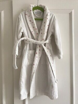 The Little White Company Girls Floral Towelling Dressing Gown / Robe 3-4 Years