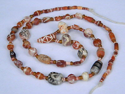 Ancient Etch Carnelian Beads Strand Roman 200 BC No Reserve #BD15084