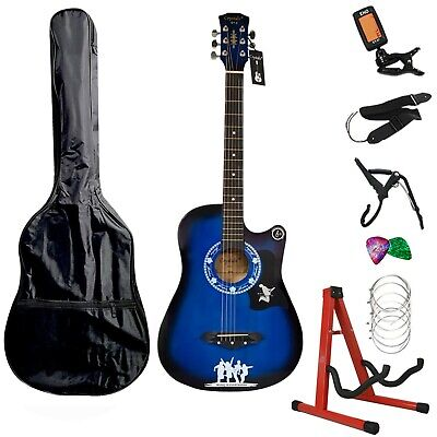 """Acoustic Guitar 38"""" Full Size Royal Blue Acoustic Guitar Package Xmas Gift"""