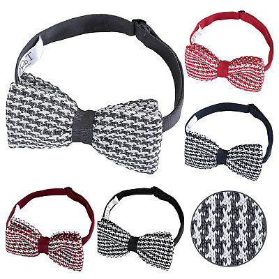 Mens Pretied Bow Tie Knitted Geometric Houndstooth FREE Pocket Square by DQT