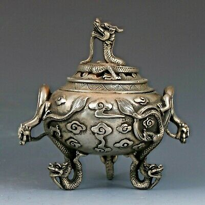 Chinese old Tibetan silver Hand-Carved Dragon Incense Burner XuanDe Mark