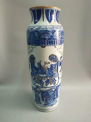 Large Exquisite Chinese Blue And White Porcelain Figures Vases Outline Gold Top