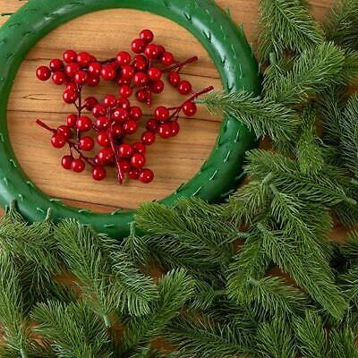 CRAFT BUDDY Forever Flowers FESTIVE WREATH KIT Wreath + Red berries PINE LEAVES