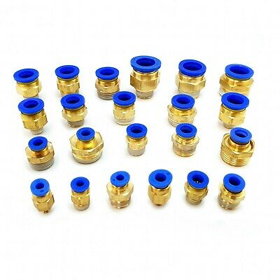 Male stud push in straight fit pneumatic fittings BSP thread air water hose tube