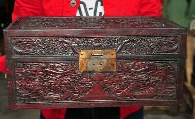 "14""Old Chinese Rosewood wood carving dragon totem statue cabinet storage boxes"