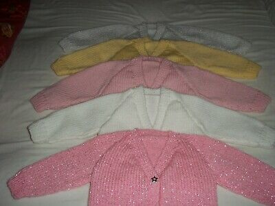 Hand knit baby girls cardigans, newborn & 0-3mths