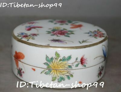 Chinese Wucai Porcelain Qing Dynasty Peony Flower Butterfly Casket Jewelry Box