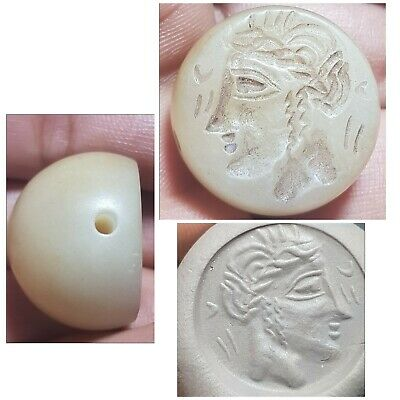 Very old greek queen agate intaglio stamp bead