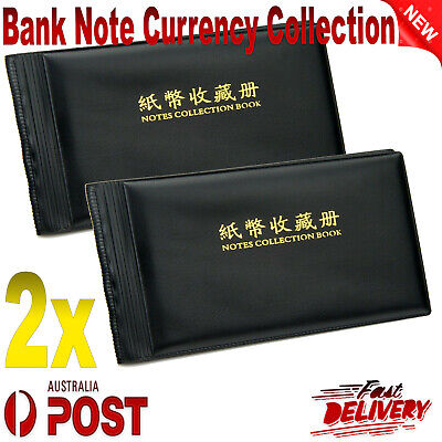 2x Bank Note Currency Collection Album Paper Money Pocket Holders 40 Notes Black