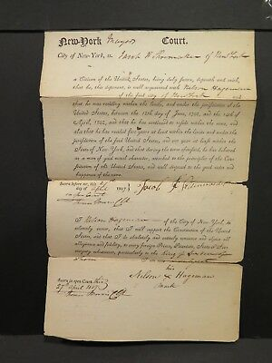 1807 NEW YORK Manuscript Affidavit of Citizenship PAPER HISTORICAL USA EPHEMERA