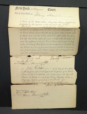 1807 NEW YORK EPHEMERA Manuscript Affidavit of Citizenship PAPER HISTORICAL USA