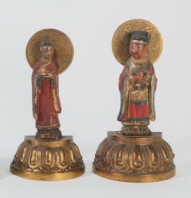Pair of China Chinese Carved Polychrome Wood Figures on Lotus Base ca. 1900