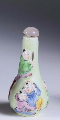 China Chinese Qing Dynasty Children Decor Porcelain Snuff Bottle ca 19th c.