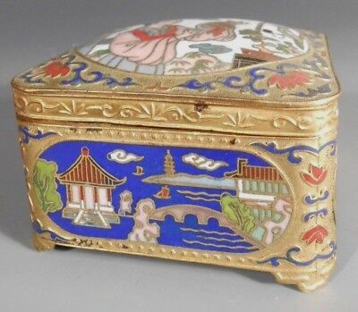 Fine China Chinese Brass Champleve Enamel Trinket Box ca. Mid 20th c.