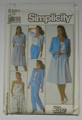 "Vintage 1980s sewing pattern. SIMPLICITY 8981.JACKET/TRS/SKIRT.Bust 34"" UNUSED"