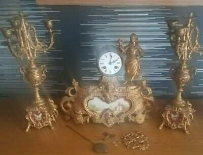 French MANTEL CLOCK : VINCENTI - MEDAILLE D'ARGENT - 1855 AND GARNITURES