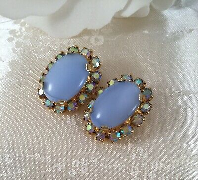 Vintage Jewellery Gold Blue Earrings AB Crystals Victorian Costume Dress Jewelry
