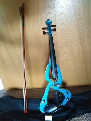 Electric Blue Violin plug in electric battery powered with bow rosin carry bag