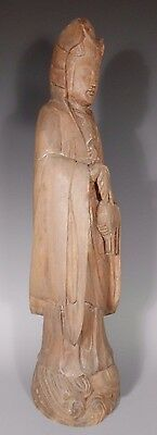 Fine Old Korea Korean Hand Carved Wooden statue Kwan Yin ca. early 20th century