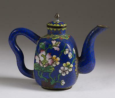 Fine Old China Chinese Miniature Blue Floral Cloisonne Teapot ca. 19-20th c