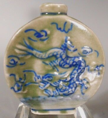 China Chinese Celadon Green Porcelain Snuff Bottle w/ Dragon & Phoenix 17-19th c