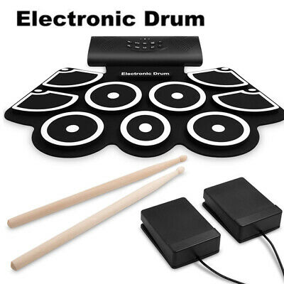Portable Roll-Up Rechargeable Drum Kit Bluetooth 9 Pads With Foot Pedal for Kids