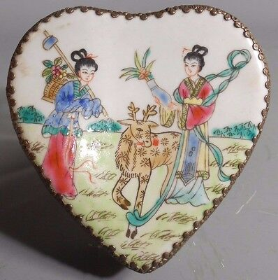 Chinese China Porcelain Figural Landscape & Silver color Metal Tooled Box
