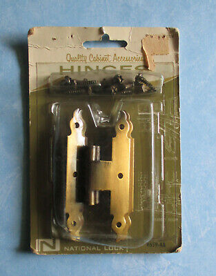 "National Lock 1 pair 3/8"" offset hinge V659-4A antique brass plated cabinet door"