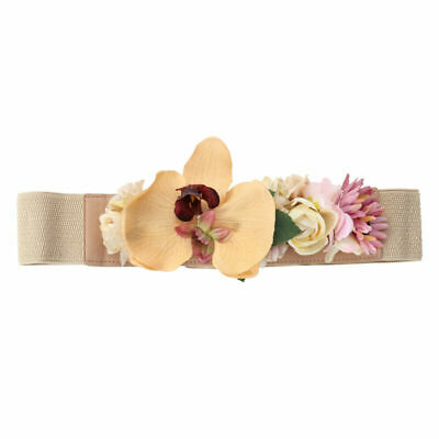 1pc Artificial Flowers Belts Elastic Wide Waist Band Dress Belt for Girls Woman