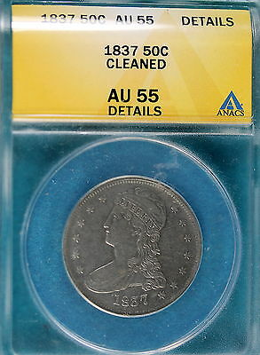 1837 ANACS AU55 Details Cleaned Capped Bust Half Dollar!! #B5681