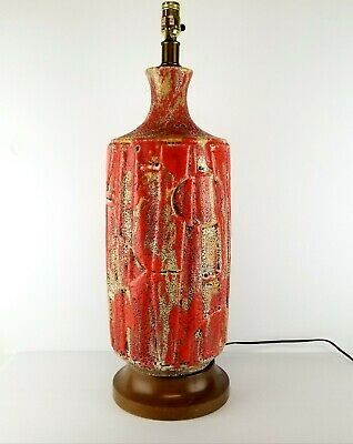 Mid Century Lamp Ceramic Fat Lava Frothy Glaze Orange Brutalist Abstract Vtg