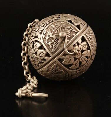 Tibetan Silver Carved Flower Bird Statue Hollow Pendant Old Incense Burner