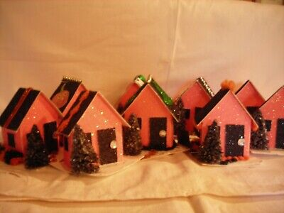 Vintage inspired Putz Houses Halloween; Bottlebrush trees party decor Gifts
