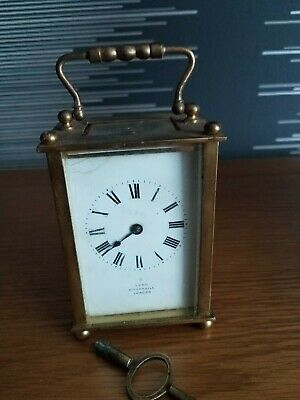 Vintage Lund Cornhill London  Brass Cased Carriage Clock French Movement