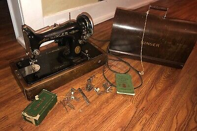 Vintage Singer Sewing Machine B U 7 A With Wooden Case & Key Attachments Manual