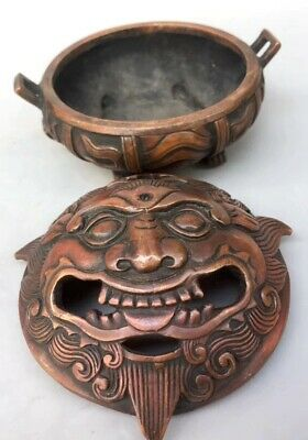 Collectable China Handwork Old Copper Carved Good Luck Exorcist Incense Burner