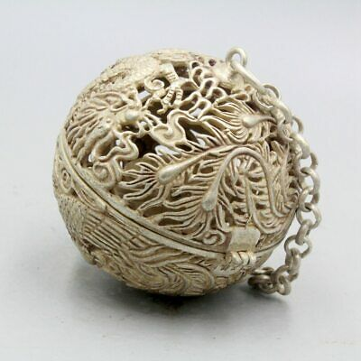 Collection China Old Tibet Silver Carved Dragon Phoenix Interesting Ball Pendant