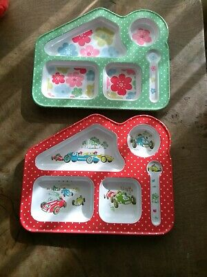 2 Cath Kidston Toddler Kids Melamine Food Tray Plates Flowers & Racing Cars
