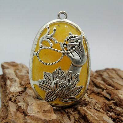 AAA Collection China Miao Silver Handwork Carved Buddha Hand Mosaic Jade Pendant