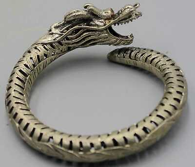 Collect China Miao Silver Handwork Carving Dragon Head Exorcism Amulet Bracelet