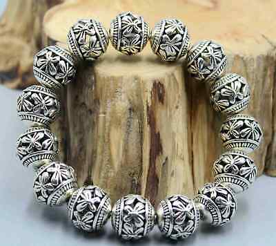 Collect China Handwork Miao Silver Carving Hollow Lucky Girl Noble Hand Catenary