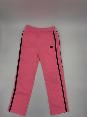 Girls New Balance Sweatpants Jogger Yoga Pants Pink Striped Polyester Size 5/6