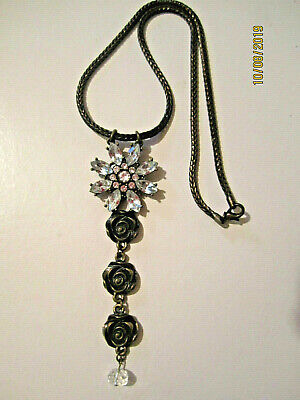 Antique VTG Art Deco Solid Brass Ornate Clear Rhinestone Luxury Pendant Necklace