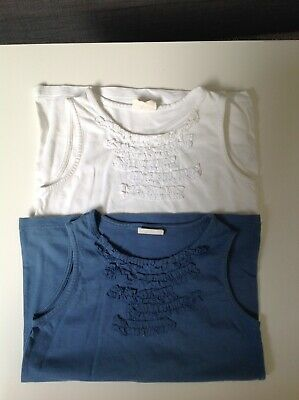 Mini boden Girl's Vest Tops X 2, Age 7-8 , Blue And White